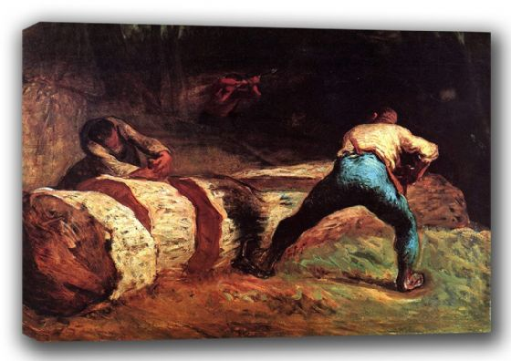 Millet, Jean-Francois: The Woodcutters (Sawyers).  Fine Art Canvas. Sizes: A3/A2/A1 (00715)
